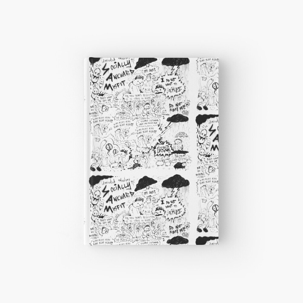 Socially Awkward Misfit comic doodles Hardcover Journal