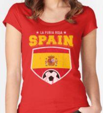 2018 Spain Soccer Espana Futbol World Soccer Flag Women's Fitted Scoop T-Shirt