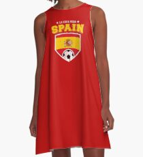2018 Spain Soccer Espana Futbol World Soccer Flag A-Line Dress