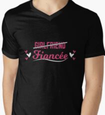 Fiancee Gift Wife Engaged Shirt Just Married Engagement Present Men's V-Neck T-Shirt