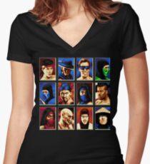 Mortal Kombat II Genesis Character Select Women's Fitted V-Neck T-Shirt