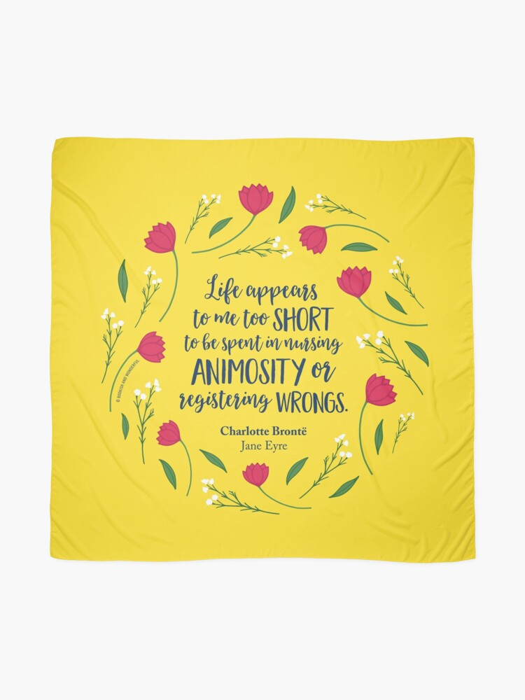 Charlotte Bronte Jane Eyre Floral Life Book Quote Scarf