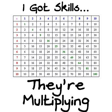 Funny I've Got Skills They're Multiplying Math Teacher Tee With Multiplication Table by 198tees