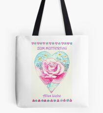 ZUM MUTTERTAG ALLES LIEBE - Romantisches Herz mit Pink Rose und kleinen Margaritten Tote Bag