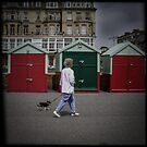 Fine Art Photograph Made With Toy Camera - Woman with Dog, Brighton and Hove, England by Christopher Ball