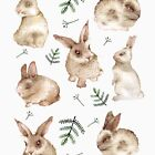 Bunnies and Leaves (White) by birdtale