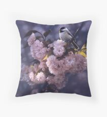 """Chickadee """"In Spring Pink"""" Throw Pillow"""