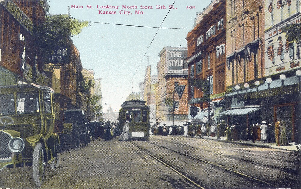 1910 KCMO, Main Street Looking North from 12th Street, Kansas City, MO from antique postcard. by Steve Sutton