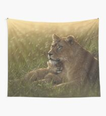 "Lioness and Cub ""Safe Haven"" Wall Tapestry"