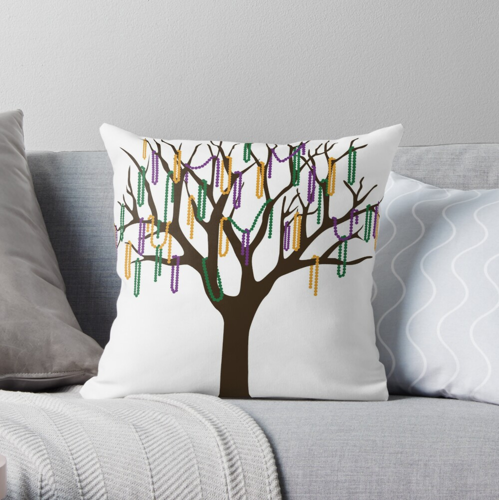 Tulane Mardi Gras Bead Tree Throw Pillow
