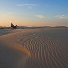Family Sunset at Birubi Beach Sand Dunes by Mike Salway