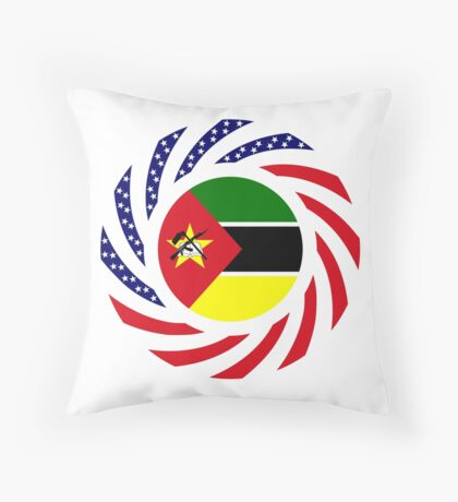 Mozambican American Multinational Patriot Flag Series Throw Pillow