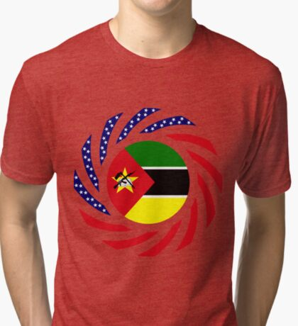 Mozambican American Multinational Patriot Flag Series Tri-blend T-Shirt