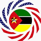 Mozambican American Multinational Patriot Flag Series by Carbon-Fibre Media