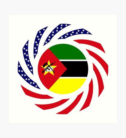 Mozambican American Multinational Patriot Flag Series Art Print