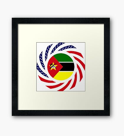 Mozambican American Multinational Patriot Flag Series Framed Print