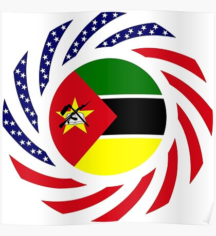 Mozambican American Multinational Patriot Flag Series Poster