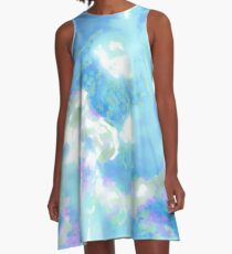 Blue Impressionist Hibiscus A-Line Dress