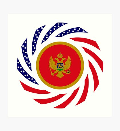 Montenegrin American Multinational Patriot Flag Series Art Print