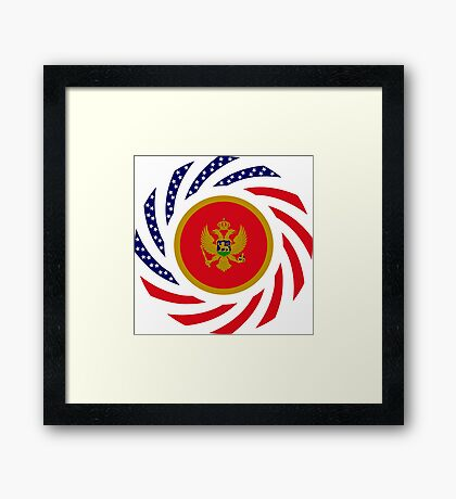 Montenegrin American Multinational Patriot Flag Series Framed Print