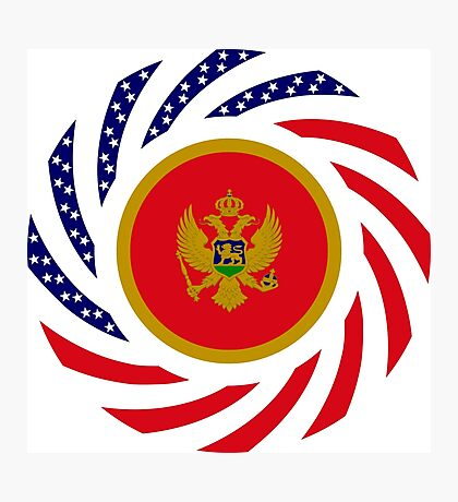 Montenegrin American Multinational Patriot Flag Series Photographic Print