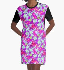 Impressionist Hibiscus Series - Purple and Pink Graphic T-Shirt Dress