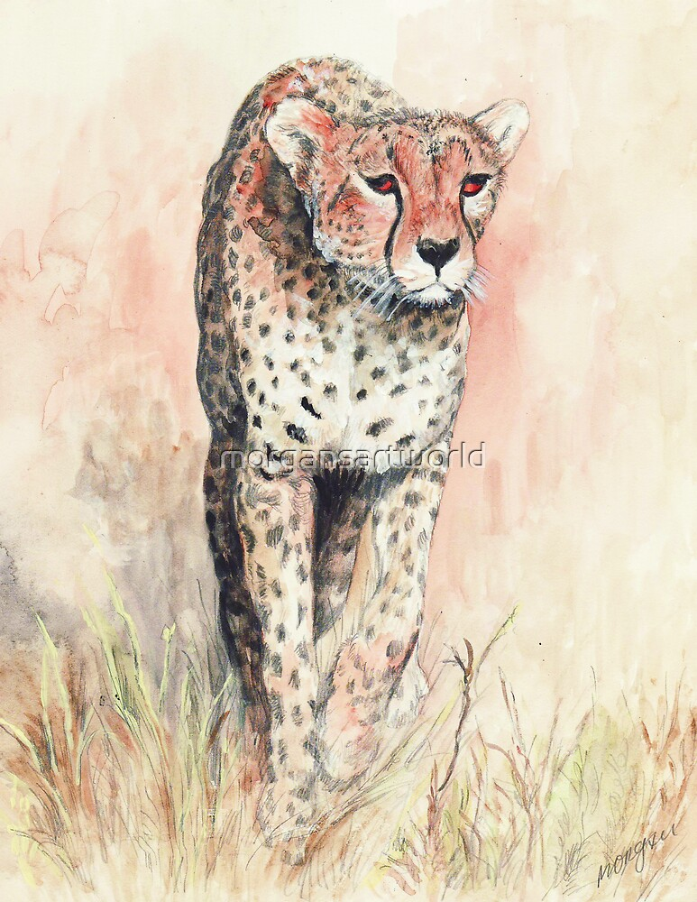 Cheetah running by morgansartworld