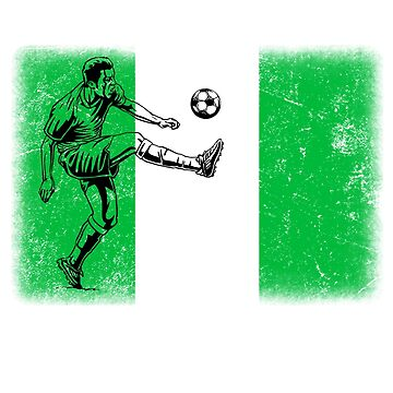 World Cup Russia 2018 Vintage Style Nigeria Flag Football Soccer by jonawillian