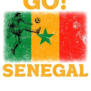 World Cup Russia 2018 Vintage Style Senegal Flag Football Soccer by jonawillian