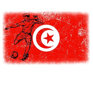 World Cup Russia 2018 Vintage Style Tunisia Flag Football Soccer by jonawillian