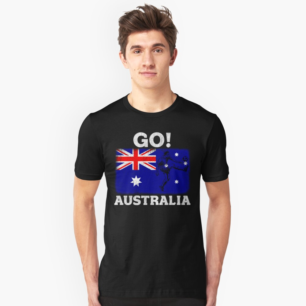 World Cup Russia 2018 Vintage Style Australia Flag Football Soccer Unisex T-Shirt Front