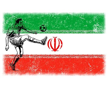 World Cup Russia 2018 Vintage Style IR Iran Flag Football Soccer by jonawillian