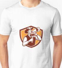 Cowboy Auctioneer Bullhorn Gavel Shield T-Shirt