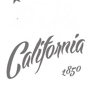 MAD THREDZ, CALIFORNIA BEAR IN GRAY AND WHITE by MADthredz