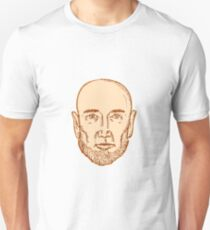 Male Bald Head Bearded Etching Unisex T-Shirt