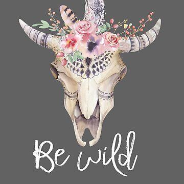 BE WILD BULL SKULL BOHO by SABRA11
