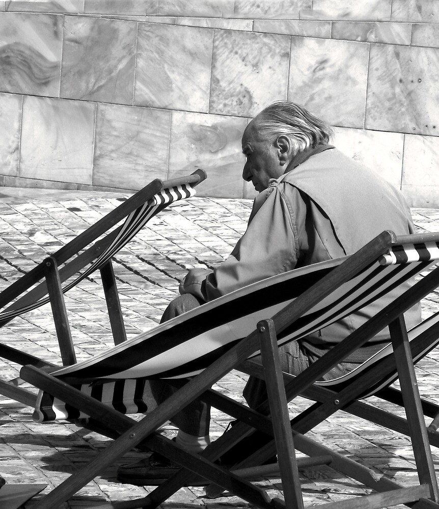 Old Man and Deckchairs by Andrew  Makowiecki
