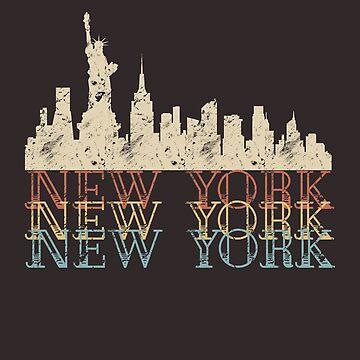 New York City Skyline NYC Vintage Retro by SABRA11