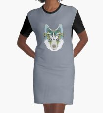 Husky Dog Siberian Alaskan Graphic T-Shirt Dress
