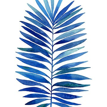 Watercolor palm branch leaves blue dark by lex-sky