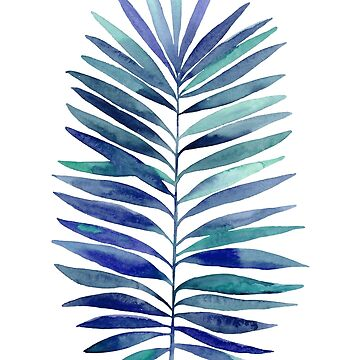 Watercolor palm branch leaves blue by lex-sky