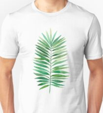 Watercolor palm branch leaves green Unisex T-Shirt