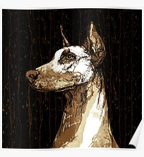 Doberman Coffee Art Poster