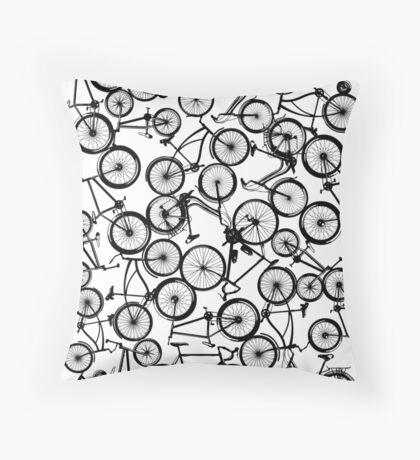 Pile of Black Bicycles Throw Pillow