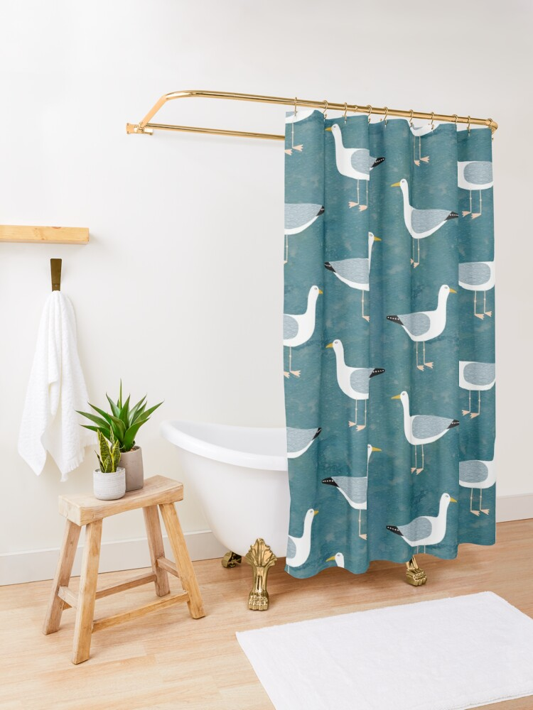 Alternate view of Seagull Standing Shower Curtain