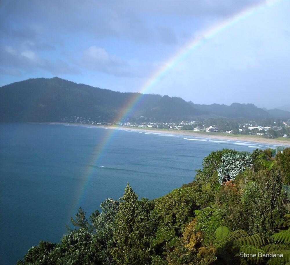 Rainbow Ocean Beach New Zealand  by Stone Bandana