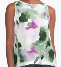 Green and violet Spring Abstract Watercolor  Contrast Tank