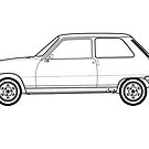 Renault 5 Classic Car Outline Artwork by RJWautographics