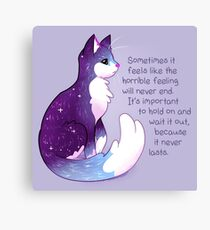 """""""The Horrible Feeling Never Lasts"""" Night Sky Cat Canvas Print"""