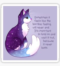 """The Horrible Feeling Never Lasts"" Night Sky Cat Sticker"